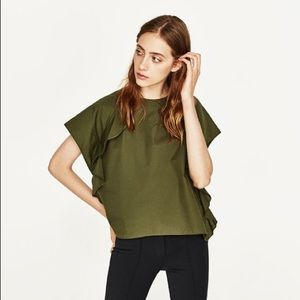 ZARA Basic olive green boxy top frilled sleeve S
